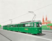 Bild Nr. 30: Zwei DÜWAG-Trammotorwagen Nr.627 und 628 der Linie 2 auf der Wettsteinbrücke, 100x80  - auch als Ansichtskarte erhältlich unter  «www.tramoldtimer-basel.ch»