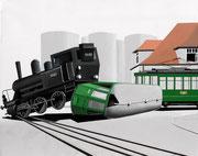 Bild Nr.22: Kollision zwischen Hafen-Dampflok und Tram der Linie 25 beim Hüninger Zoll am 13.Oktober 1958 in Basel, 100x70 (siehe Foto Nr.27 unter Fotogalerie «Eisenbahn in und um Basel»)