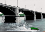 Bild Nr.21: Havarie des «TS Padella» 20.Oktober 1960 an der Johanniterbrücke in Basel, 100x70