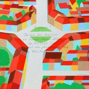 «Der Erasmusplatz von oben«. Der  Beitrag von Paul Bachmann zur BKG-Ausstellung anlässlich des Erasmus-Jahres im September 2016 in der Galerie Eulenspiegel in Basel, 25x25