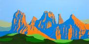 Die Dolomiten in der Abendsonne, 80x40 (2014)