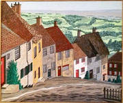 Häuserreihe in Golden-Hill-Shaftesbury, Dorset - England, 60x50 (Privatbesitz)