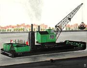 Bild Nr. 15: Die Rheinhäfen in Basel unter dem gemeinsamen Titel «Die Schönheit der Technik»,  50x40. (Der Dampfschwimmkran Nr.7 der Gebrüder Meyer Bauunternehmung Köln, in Basel)