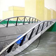 Bild Nr.19: Einsturz der Wiesenbrücke während des Abbruchs 1960, 80x80 (siehe Foto Nr.20 unter Fotogalerie «Brücken in Basel»)