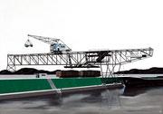 Bild Nr. 8: Die Rheinhäfen in Basel unter dem gemeinsamen Titel «Die Schönheit der Technik»,  100x70   (Der Kran der Rheinischen Kohlenumschlags AG im Hafenbecken 1)