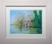 """""""Thames Boathouse""""  £125 38 x 45.5 cms approx outside frame measurement"""