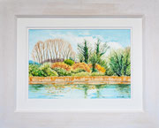 """Lake View, Marsworth""  £150 51 x 41 cms approx outside frame measurement"