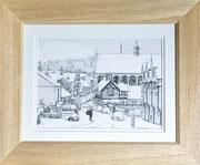 """""""Castle Street, Berkhamsted, snow scene  £125 14 x 11 inch plus frame width"""
