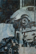 KÄFER - WOLFSBURG, 2015, Tusche, Aquarell und Acryl auf Nessel, 160 x 110 cm