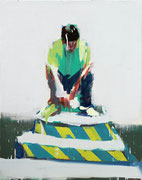 GREEN SERIES NO. 38, 2016, Acryl auf Leinwand, 100 x 80 cm