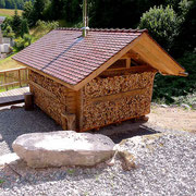 Schwarzwald-Blockhaus Köhlerhäusle von hinten gesehen