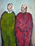 Les comploteurs (acrylique sur papier marouflé sur bois, 24x30cm)