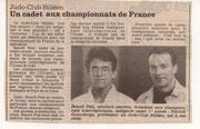 2000 -  Sélection de Benoît Pelé pour les championnats de France.