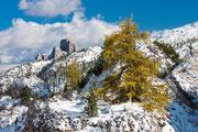 Wintereinbruch am Falzarego Pass, im Hintergrund die Cinque Torri