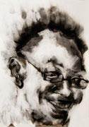 tOG No.32 - Tina Wohlfarth - University Circle - Ruß auf Papier, 59,4 x 42cm, 2014, mit Objektrahmen 70 x 50 cm