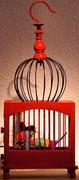 Daniel Kho - tOG Nr.26 - Galaxy Rat in Red Transformer Machine  - 43 x 19 x 14 cm - 2012 - Acryl auf Holz