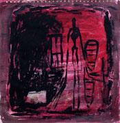 TUSCHEROT 2002 Öl, Tusche auf Karton 40 x 40 cm