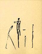 HOMAGE a GIACOMETTI 1999 Siebdruck auf Nepalpapier 43 x 62 cm