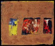 SHIVA LINGAM 2001 Acryl, Öl, Pigmente, Lehm auf Leinwand 100 x 120 cm