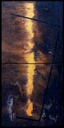 APOCALYPSE 1999 Acryl, Öl, Pigmente, Sand, Papier u. Tusche auf Leinwand 80 x 160 cm