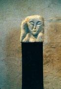 HOHE KÖPFE I.3 1987 Sandstein, Holz 130 cm
