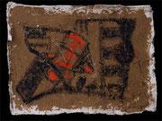 STRANGE SPIRITS II 2001 Lehm, Öl auf Papier 30 x 45 cm