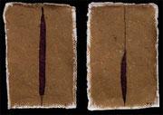 STRANGE SPIRITS I 2001 Tusche, Papier, Lehm auf Papier 30 x 45 cm