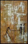 WÜSTENZAUBER 1999 Acryl, Öl, Pigmente, Sand und Tusche auf Leinwand 100 x 200 cm