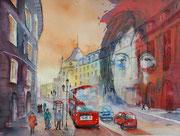 London mit John, Collage am PC als Druck erhältlich mit Passp. f. Rahmen 50x70 cm, 80 Euro