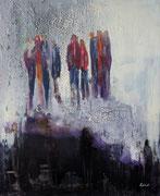 Menschen auf dem Wolkenschloss, Collage als Druck mit Passp. f. Rahmen 60x80 xm 90 Euro