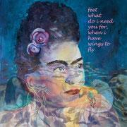 Frida, Collage am PC als Druck mit Passpartout f. Rahmen 50x50 cm, 60 Euro