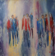Menschen unterwegs, Acryl auf Keilr. 80x80 cm 290 Euro