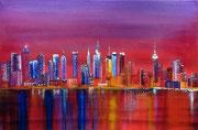Skyline - Acryl und Öl auf Leinwand im Schattenfugenrahmen - 120,-