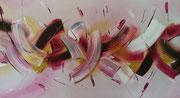 Purpel meets Banana - Acryl auf Faserplatte im Schattenfugenrahmen - 120,-