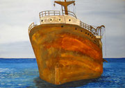 rostiges Wrack - 70 x 50 cm, Acrylfarben auf Karton, signiert und datiert 2014