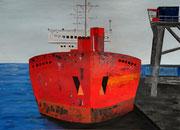 Frachter - 70 x 50 cm, Acrylfarben auf Papier, signiert und datiert 2012