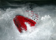 schwere See 2 - 70 x 50 cm, Acrylfarben auf Hartfaserplatte, signiert und datiert 2012