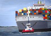 Containerschiff - 70 x 50 cm, Acrylfarben auf Keilrahmen, signiert und datiert 2013