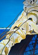 gerefftes Segel - 70 x 50 cm, Acrylfarben auf Papier, signiert und datiert 2013