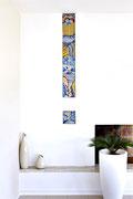 La colonna della gioia, mosaico in vetro e pietre naturali, 22 x 170 cm (Casa privata, Morbio Inferiore - CH)