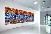 La bilancia, il simbolo e gli elementi, 2009, mosaico in vetro e pietre naturali, 500 x 180 cm (IBSA, Noranco - CH)