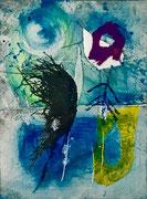 Les formes et le vent, 2017, calcografia a olio, 15 x 21 cm