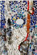 Piccolo bianco, 2010, mosaico in vetro e pietre naturali, 19 x 28 cm