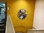 Avvenire e Progresso, 2017, mosaico con vetri, marmi e ceramica, 140 cm (SAMB Scuola Arti e Mestieri - Bellinzona)