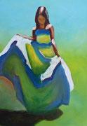 Frau im Sommerkleid, Acryl auf Papier