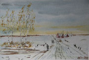 Winter am Niederrhein  Aquarell  ca.15x20 cm