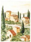 Toscanadorf  Aquarell  ca.30x40 cm
