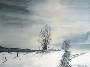 Winterlandschaft  Aquarell  ca.30x40 cm