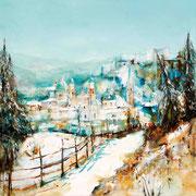 Salzburg im Winter, Acryl auf Leinwand, 80x80