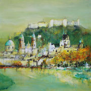 Salzburg im Herbst, Acryl auf Leinwand, 60x60